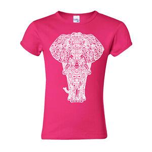 🔥 Elephant Tribal Mandala Boho Girls Youth T shirt Zoo visit Animal lover girl