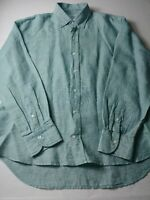 Ledbury Mens Slim Fit Shirt Size XL Green Long Sleeve Button Down 100% Linen