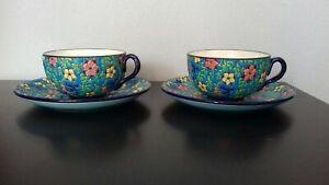 2 jolies tasses petit déjeuner tête à tête EMAUX DE LONGWY avec soucoupes fleurs