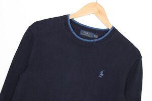 POLO RALPH LAUREN Crew Neck Navy Blue Knit Cotton Jumper Sweater Men Size XS