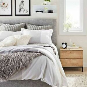 THRESHOLD Channel Stitch Velvet Quilt Full Queen Gray 100% Cotton