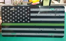 Black and Gray Distressed Thin Green Line American flag car tag license plate