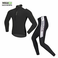 WOSAWE Mens MTB Bike Bicycle Cycling Jersey Pants Set Quick dry Long Sleeve Suit