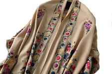Grand Châle Beige - Cachemire broderie Pashmina - Foulard - Etole 200 X 70
