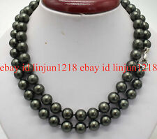 Pretty 8mm 10mm Black South Sea Shell Pearl Round Beads Necklace  36'' AAA