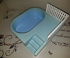 PLAYSKOOL Dollhouse SWIMMING POOL w/ DECK FENCING 1991 Stairs Platform Excellent