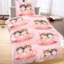 Mikrofaser Bettwäsche 135x200 2 teilig Tiere rosa Katzen