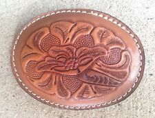 Wild Rose by H A Sheldon embossed leather belt buckle