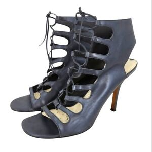 Via Spiga Leather Caged Lace Up Heels 8.5 US Womens Faded Black Ankle Shaft Pump