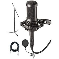 Audio Technica*AT2050 Bundle*Studio Condenser Mic+Pop Filter+Mic Cable+Stand NEW