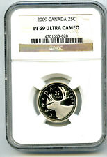 2009 CANADA 25 CENT SILVER PROOF NGC PF69 UCAM CARIBOU QUARTER RARE POP=2 !!