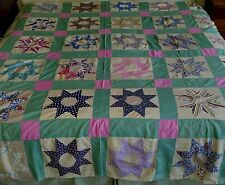 "HUGE Vintage 1930s 1940s Quilt Top SUN or 8 POINT STAR Patchwork Pattern 93""x95"""