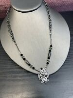 Vintage rhinestone Black Lavender Glass Rhinestone pendant necklace Grey Chain