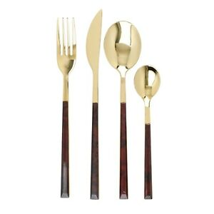 MIKASA Faux Tortoise Shell & Gold Colour 16 Piece Cutlery Set. Dining/Tableware.