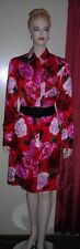 Esther Chen Saks Fifth Ave Red Pink Black Floral Shirtwaist Silk Dress 8 NWT