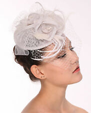 Fancy Sinamay Feathers Trio Floral Net Headband Fascinator Hat White