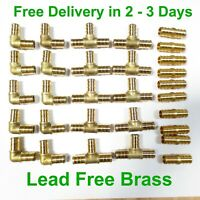 "(30) 1/2"" PEX Brass Fitting 10 EA-Elbow,Coupler, Tee, LEAD FREE CRIMP FITTINGS"