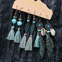 3 Pairs Bohemian Tassel Vintage Earrings Drop Dangle Womens Ear Hook Jewelry New