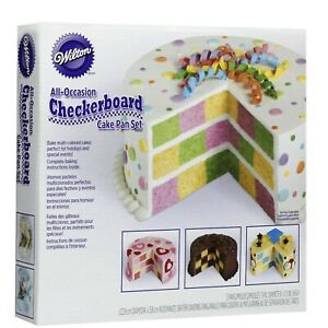"""Wilton All-Occasion Checkerboard Cake Pan Set Gray Steel 4-Piece Round 9"""""""
