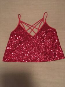 express womens cami criss cross sequins red size xxs new with tags