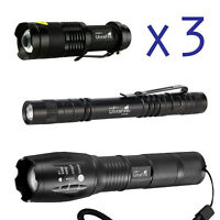 3 x Tactical 18650 Flashlight T6 Ultrafire High Powered 5Modes Zoomable Aluminum