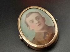 More details for painted ww1 soldier portrait oval brooch
