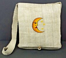 Hemp Purse Yellow Moon Embroidered Hippie Crossbody Shoulder Bag Eco Friendly