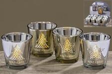 4 LED DEKOLICHTER 7,5cm gold silber Tanne Stern Tischdeko Weihnachten Windlicht