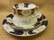 ANTIQUE VINTAGE DIAMOND CHINA TEA SET TRIO PINK ROSES COBALT BLUE GILT