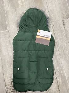WAG n' WOOF GREEN NYLON HOODIE JACKET Fleece Lined Faux Fir Trim Puppy/Dog large