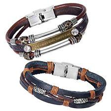 Zhenhui Vintage Multi-Stands Wristband Brown Black Leather Men's Bracelets