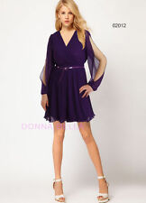 V Neck Party Patternless Synthetic Dresses for Women