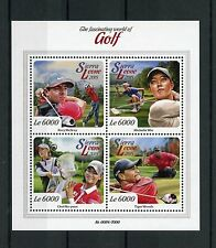 Sierra Leone 2015 MNH Golf 4v M/S Tiger Woods Michelle Wie Rory McIlroy Stamps