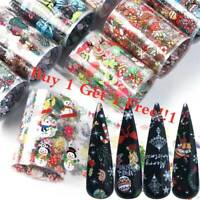 10X Christmas Stickers Nail Holographic Nail Art Transfer Foils Winter Sticker
