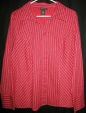 LANE BRYANT Amazing Red, White & Black Button Down Blouse-1X (14/16) NEW!