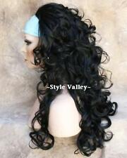 Black 3/4 Wig Fall Hairpiece Long Curly Layered  Half Wig Hair Piece color #1