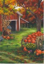 Fall on the Farm Fall Leaves Mums Red Barn Pumpkin Harvest Sm Flag