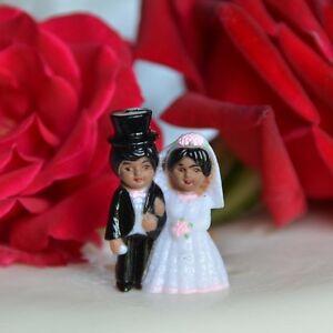 2 Vintage Bride and Groom Mini Cake Toppers Short Black Hair Dark Skin Top Hat