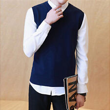 Men's Sweater Knitted Vest Warm Wool V-Neck Sleeveless Pullover Tops Shirt HOT