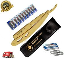 Steel Handle Straight Edge Barber Shaving Razor Shave Knife Gold with 10 Blades