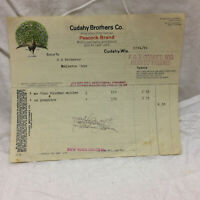 Vintage 1919 Bill Receipt Cudahy Brothers Co. Peacock Brand Wisconsin Letterhead