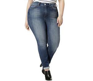Seven7 Womens Plus 16W Jeanne Blue High Rise Tummyless Slim Straight Jeans NWT