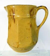 Antique Yellow Ware Milk Jug with Brown Ochre Splotches & Runs