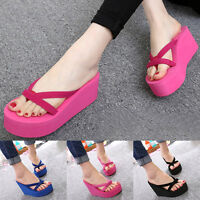 Womens Thong Strap Flip Flops High Heel Slippers Platform Summer Wedge Sandals