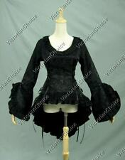 Black Victorian Bodice Blouse Steampunk Women Witch Halloween Costume C001 Xxxl