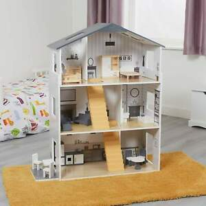 Contemporary Kids Dolls House with 18 Handcrafted Wood Furniture Accessories