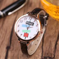 Damen Mädchen Freizeit Quarz Uhr Analog Leder schmal Ehering Armbanduhr Geschenk