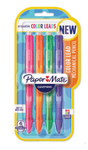 Papermate  Clearpoint Colored Lead 0.7mm 4 Pencils Purple Green Orange Pink