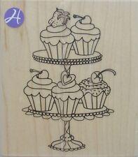 CUPCAKE CAKE Rubber Stamp PS0918 Hampton Art Brand NEW! Outlines birthday dish