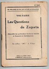 VOLTAIRE LES QUESTIONS DE ZAPATA ANTICLERICALISME IDEE LIBRE 1948 PAMPHLET